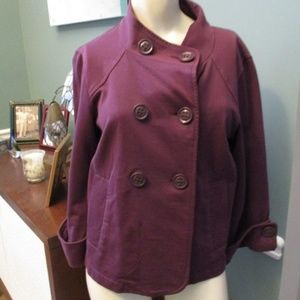 CAbi 182 Plum Terry Topper Swing Crop Jacket Small